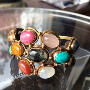 Jewelry - TS Paris Multi Color Stone Gold Tone Bracelet
